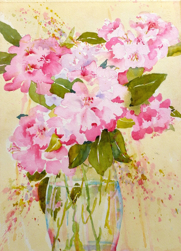 Rododendron in a Glass Vase, by Jane Brennan