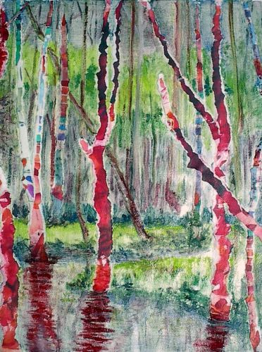 Triptych Blazing Bayou #2, by Jane Brennan